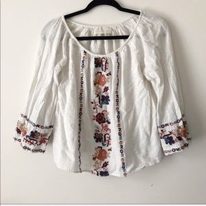 ANTHRO LOVE SAM Embroidered Floral Top